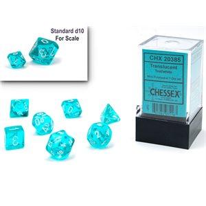 Translucent: Mini 7pc Polyhedral Teal / white ^ Q4 2021