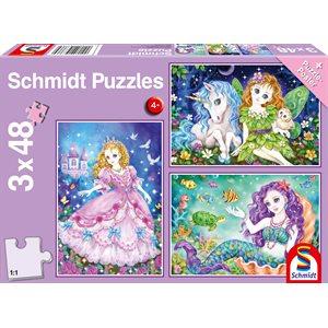 Puzzle: Princess, Fairy and Mermaid (3x48pcs) ^ Q2 2021