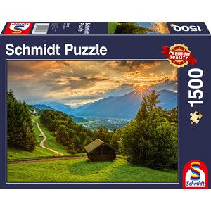 Puzzle: 1500: Sunset Over the Mountain Village of Wamberg ^ Q2 2021