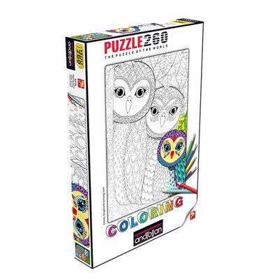 Puzzle: 260 Colouring Owls Family