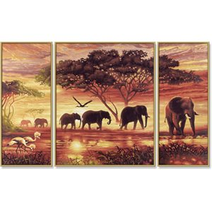 Paint by Numbers: Tryptych Elephant Caravan