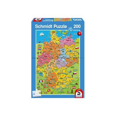 Cartoon Map Of Germany.Puzzle 200 Cartoon Map Of Germany