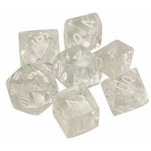 Translucent: 7pc Polyhedral Clear / White