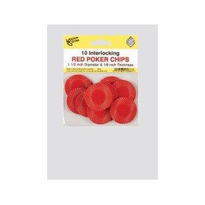Interlocking Red Poker Chips (10)